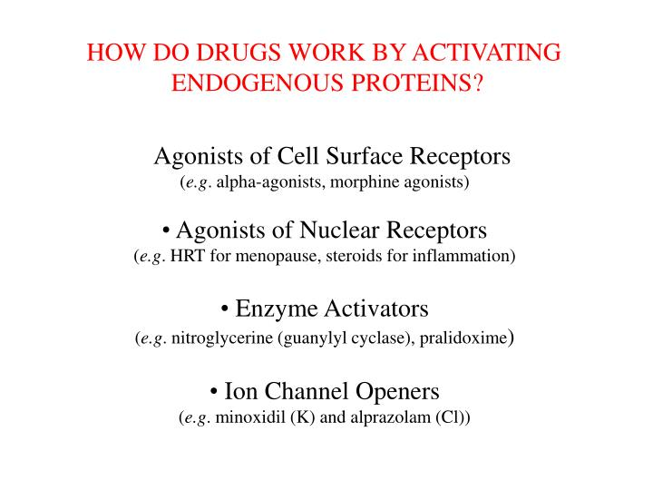 HOW DO DRUGS WORK BY ACTIVATING