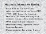 maximize information sharing