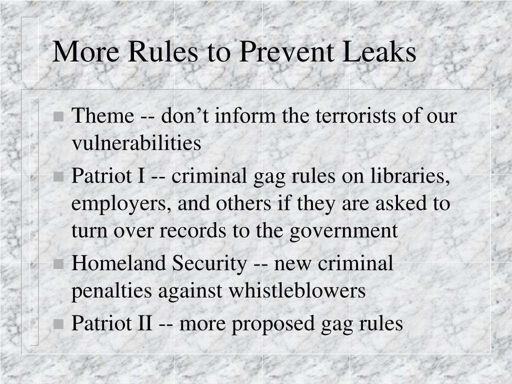 More Rules to Prevent Leaks