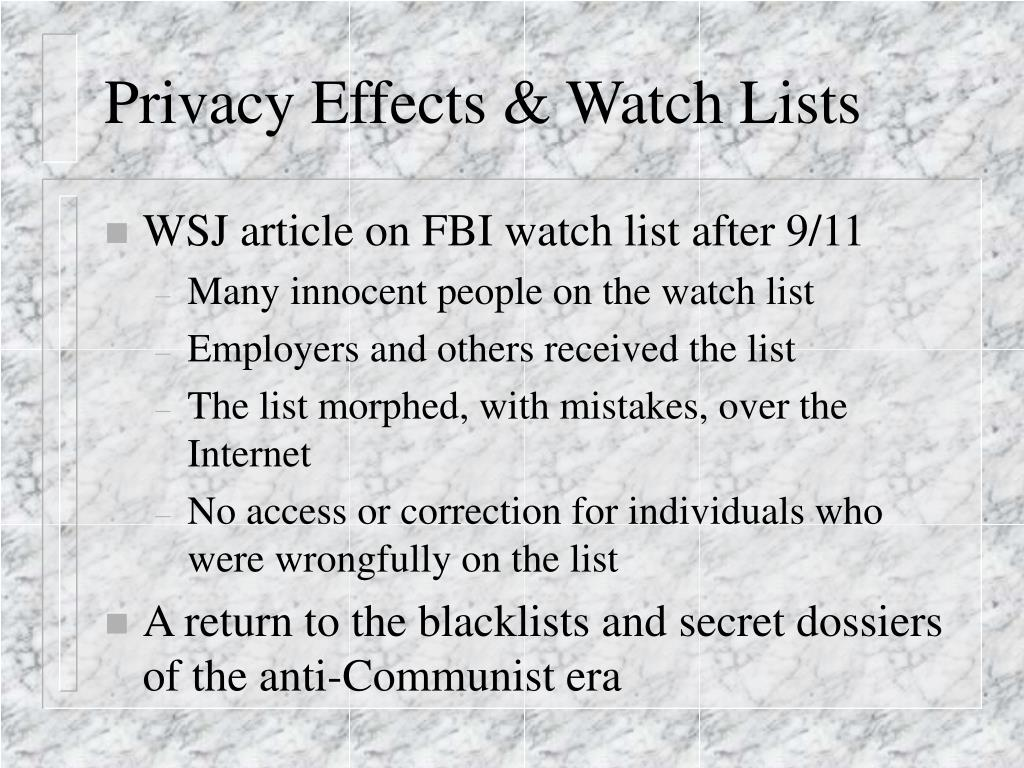 Privacy Effects & Watch Lists