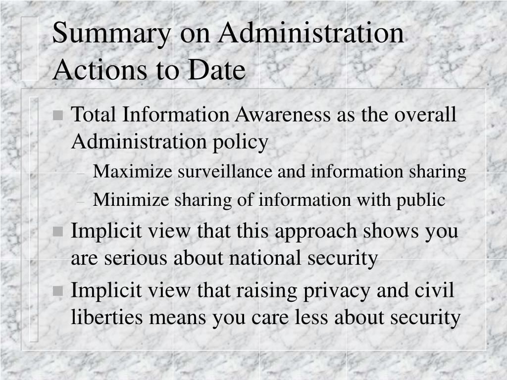 Summary on Administration
