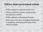 tell less about government actions