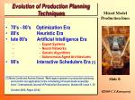 evolution of production planning techniques