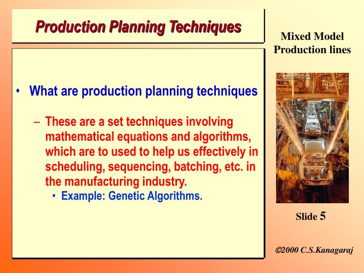 Production Planning Techniques
