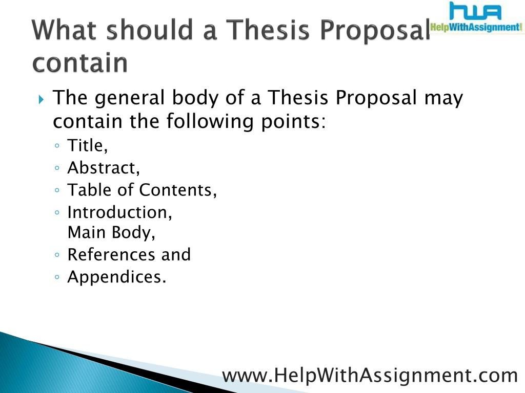 What should a Thesis
