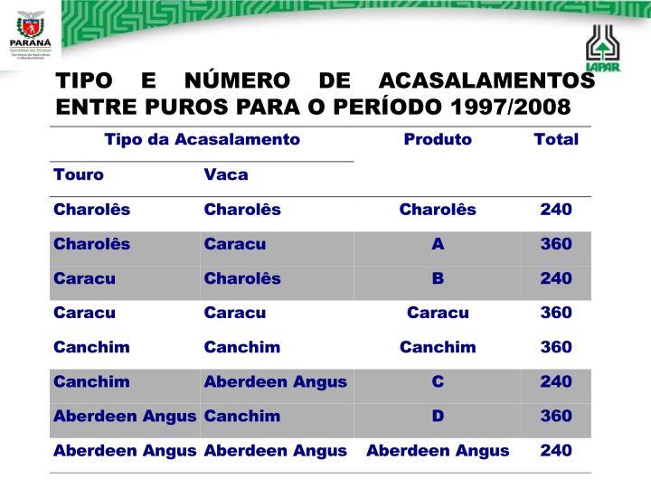 TIPO E NÚMERO DE ACASALAMENTOS     ENTRE PUROS PARA O PERÍODO 1997/2008