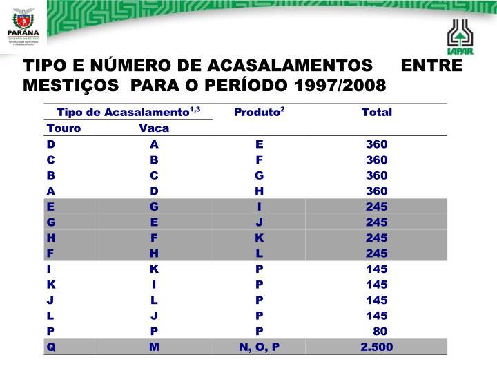TIPO E NÚMERO DE ACASALAMENTOS     ENTRE MESTIÇOS  PARA O PERÍODO 1997/2008