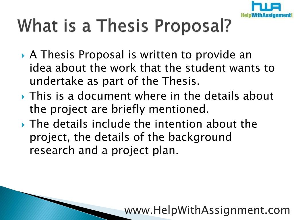 What is a Thesis Proposal?
