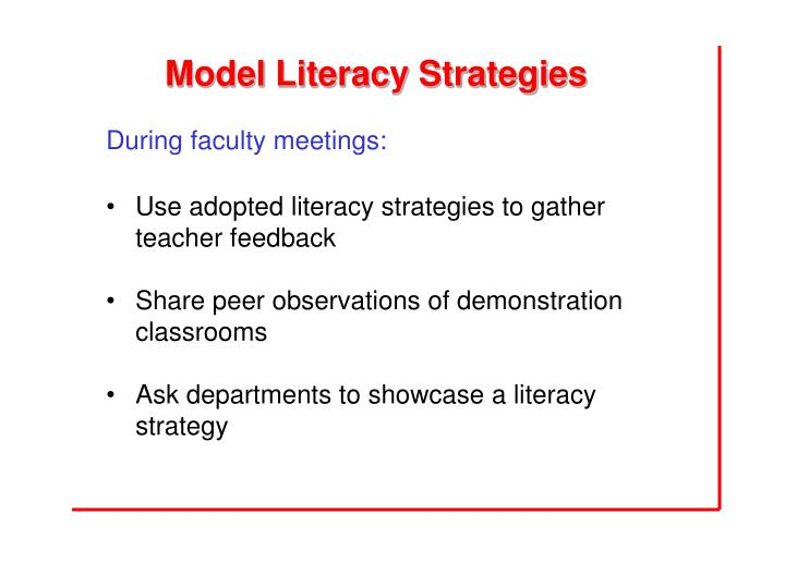 Model Literacy Strategies