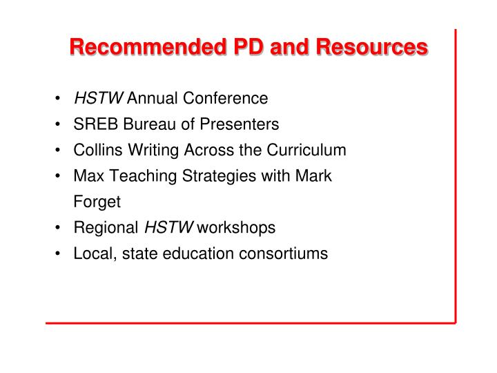 Recommended PD and Resources