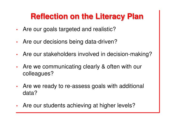 Reflection on the Literacy Plan