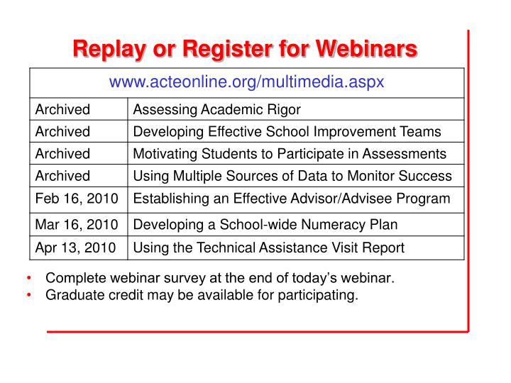 Replay or Register for Webinars