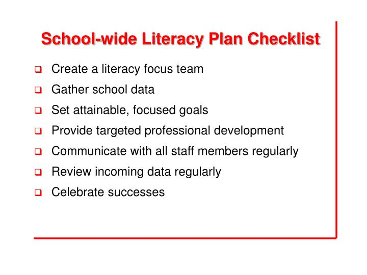 School-wide Literacy Plan Checklist
