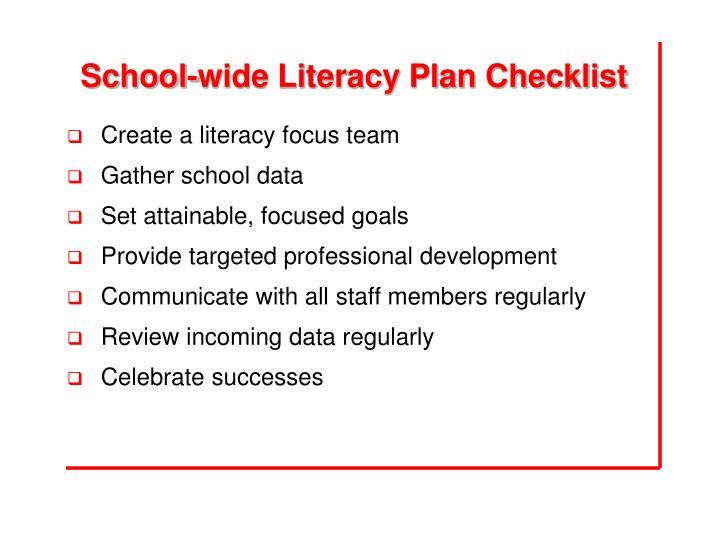School-wide Literacy Plan Checklist