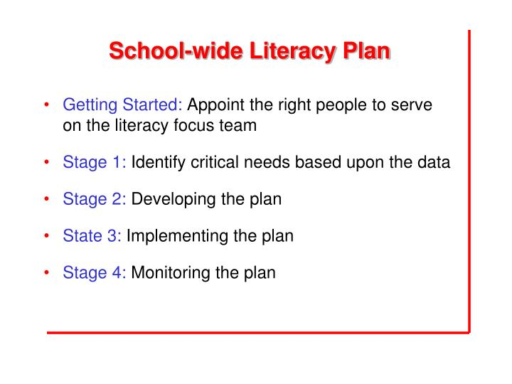 School-wide Literacy Plan