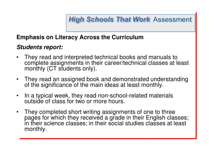 Emphasis on Literacy Across the Curriculum