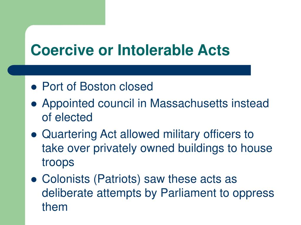Coercive or Intolerable Acts