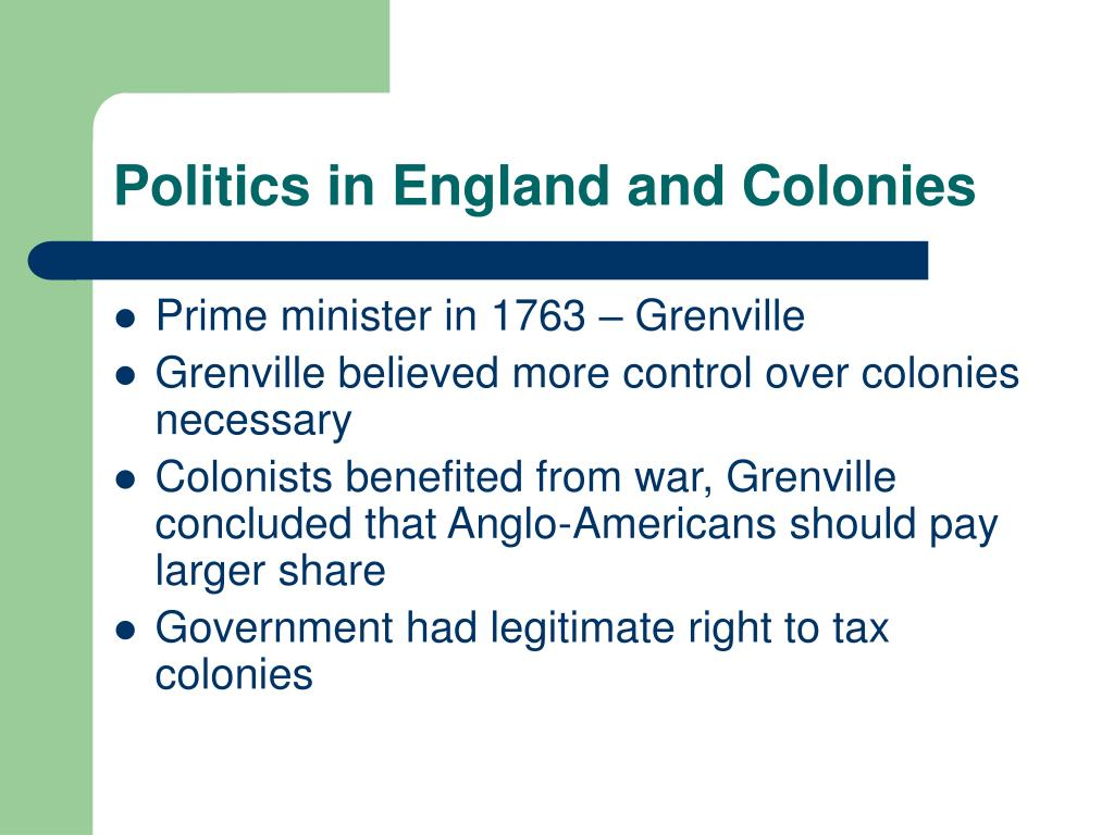 Politics in England and Colonies