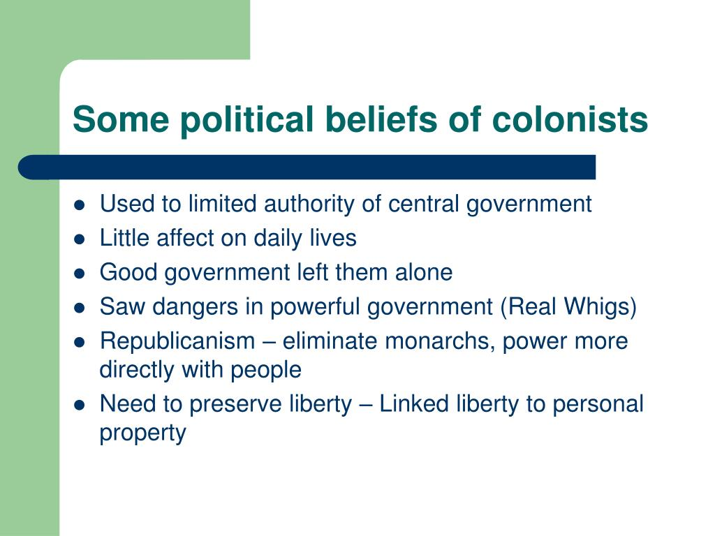 Some political beliefs of colonists