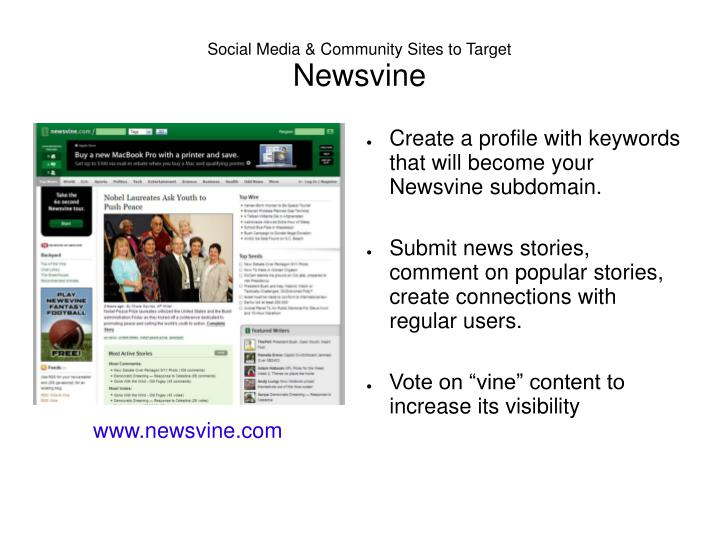 Social Media & Community Sites to Target