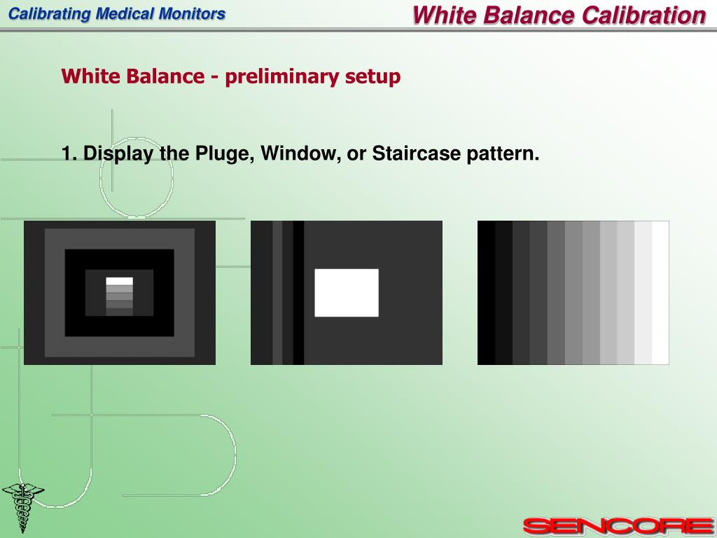 1. Display the Pluge, Window, or Staircase pattern.