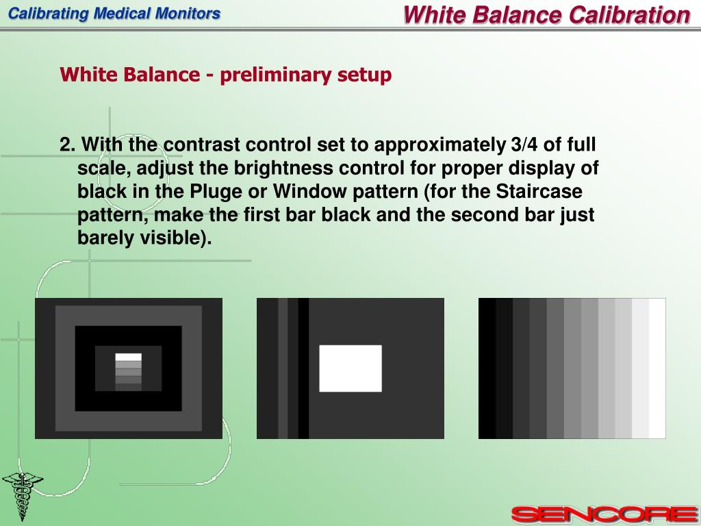 2. With the contrast control set to approximately 3/4 of full scale, adjust the brightness control for proper display of black in the Pluge or Window pattern (for the Staircase pattern, make the first bar black and the second bar just barely visible).