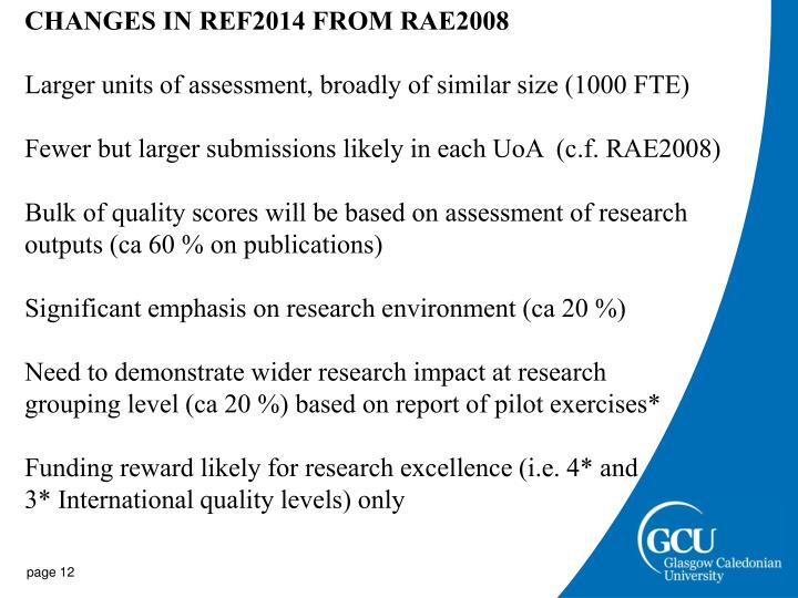 CHANGES IN REF2014 FROM RAE2008