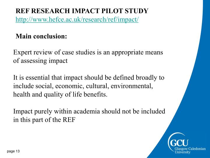 REF RESEARCH IMPACT PILOT STUDY