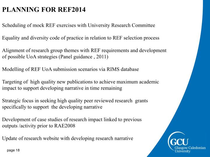 PLANNING FOR REF2014
