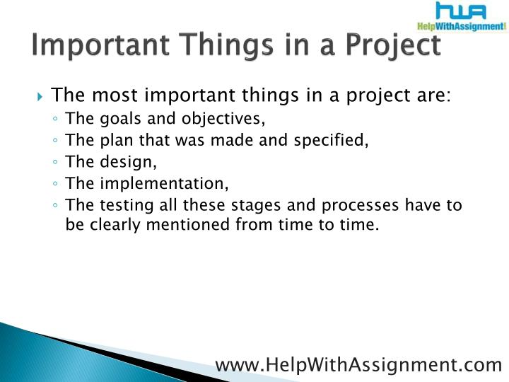 Important things in a project