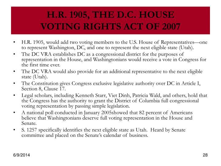 H.R. 1905, THE D.C. HOUSE