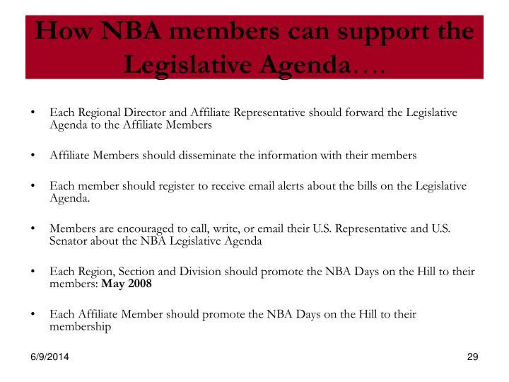 How NBA members can support the Legislative Agenda