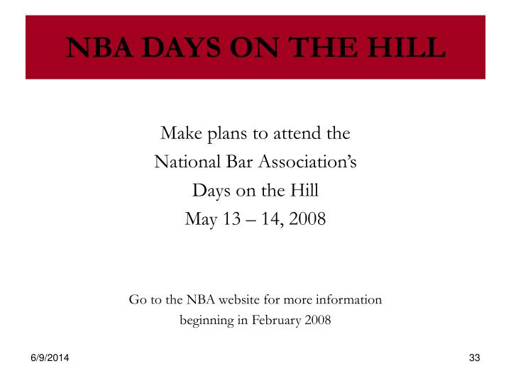 NBA DAYS ON THE HILL