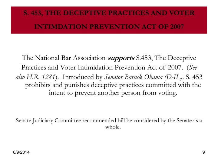 S. 453, THE DECEPTIVE PRACTICES AND VOTER INTIMDATION PREVENTION ACT OF 2007