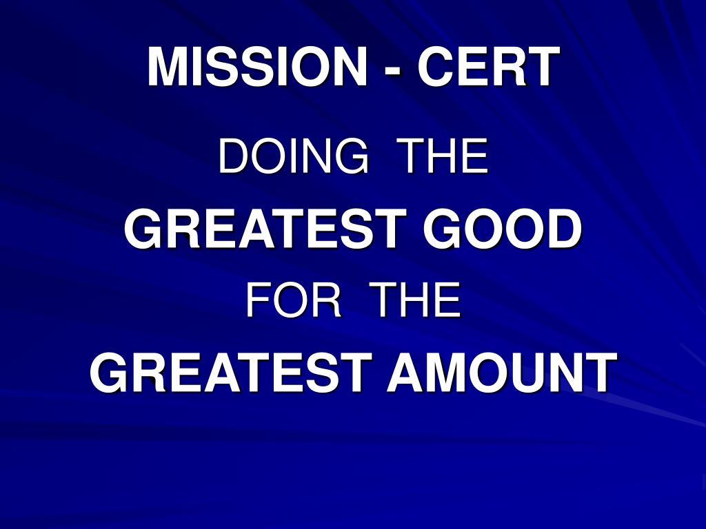 MISSION - CERT