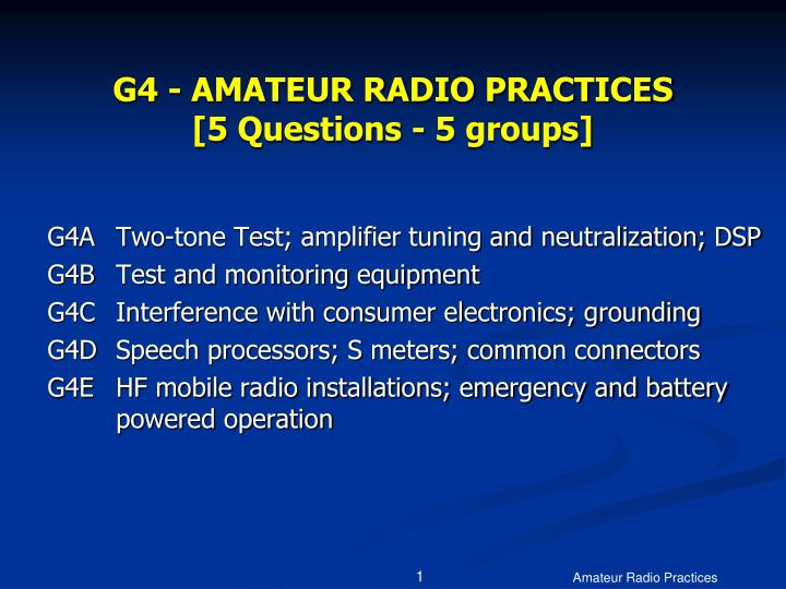 G4 amateur radio practices 5 questions 5 groups