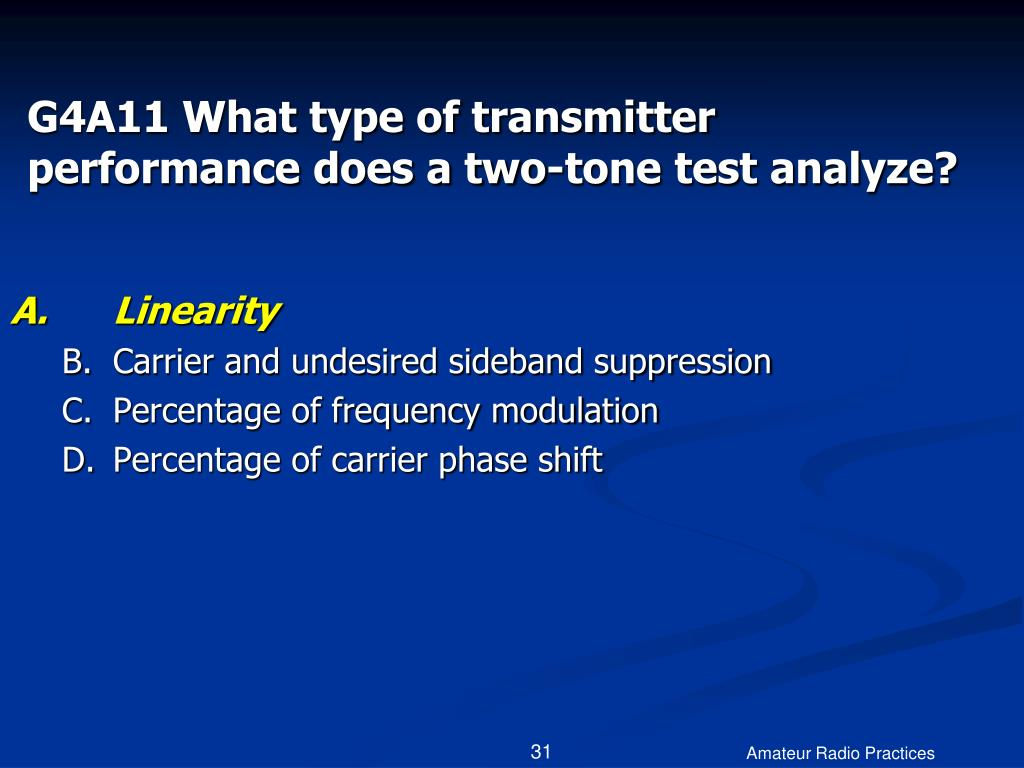 G4A11 What type of transmitter performance does a two-tone test analyze?