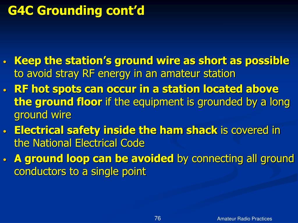 G4C Grounding cont'd