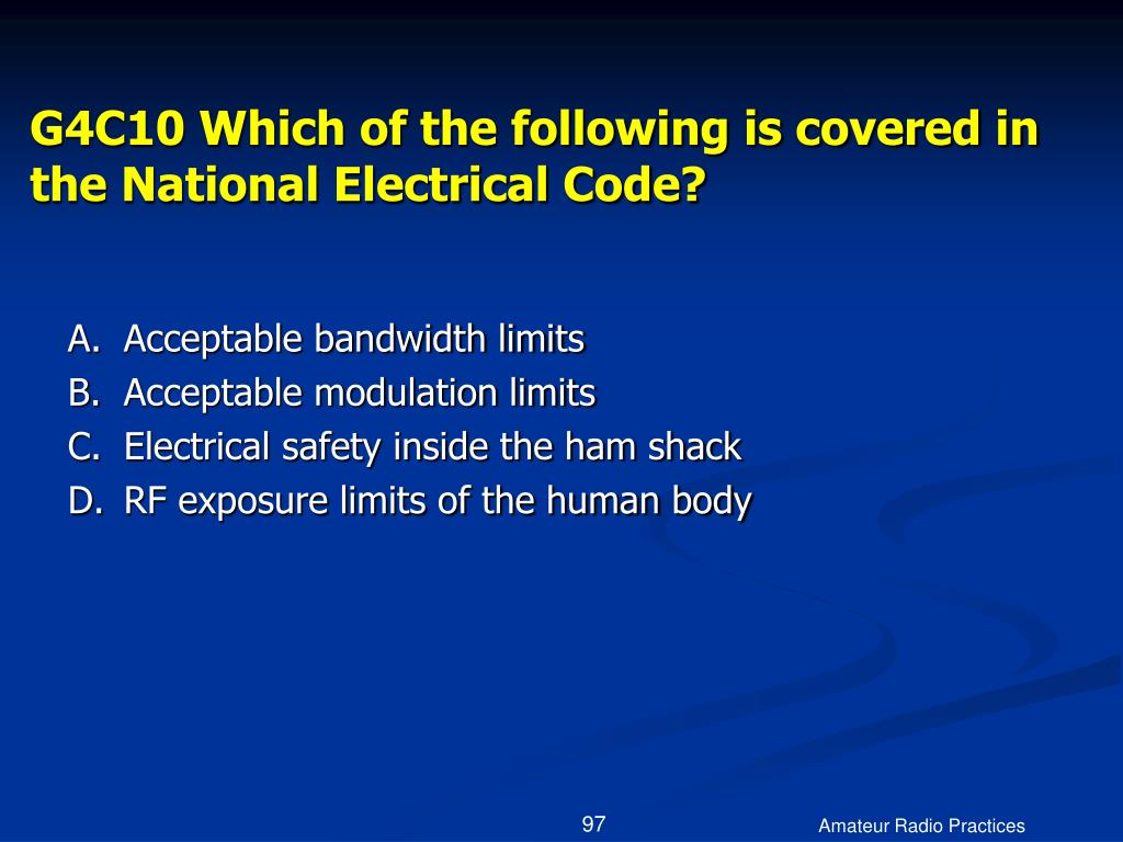 G4C10 Which of the following is covered in the National Electrical Code?