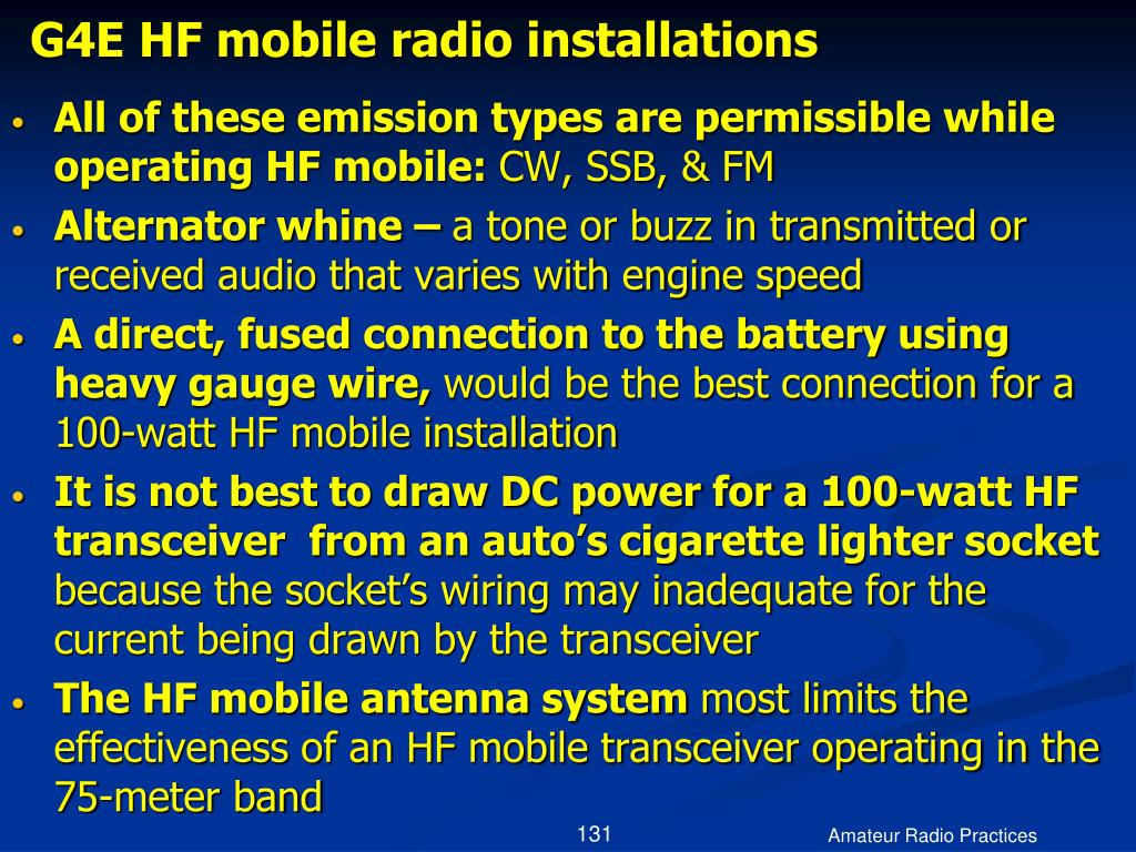 G4E HF mobile radio installations