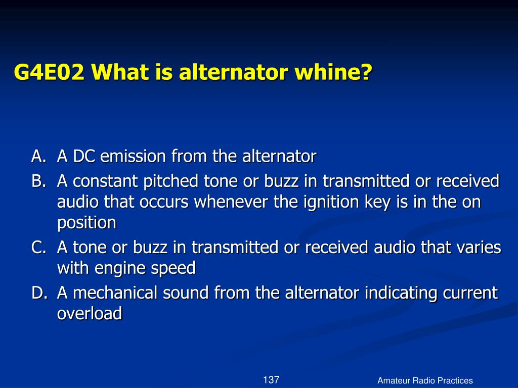 G4E02 What is alternator whine?