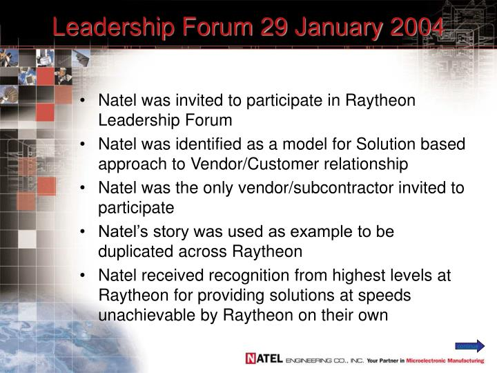 Leadership forum 29 january 2004