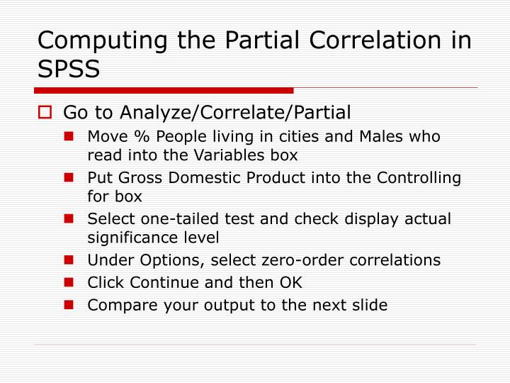 Computing the Partial Correlation in SPSS