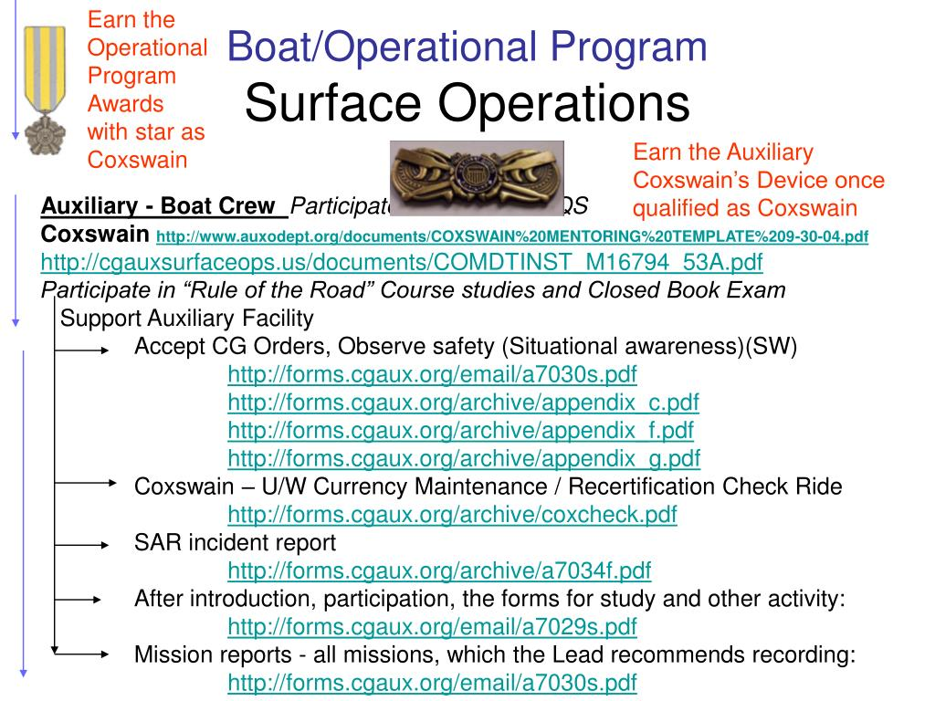 Earn the Operational Program Awards with star as Coxswain