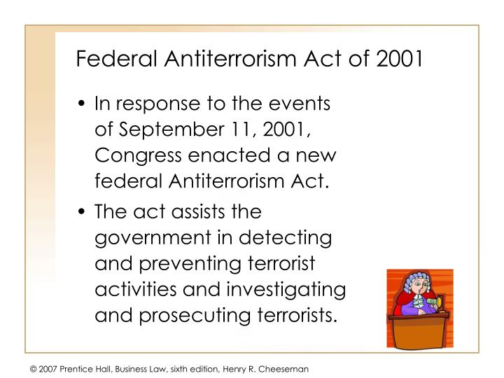 Federal Antiterrorism Act of 2001