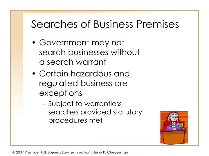 Searches of Business Premises