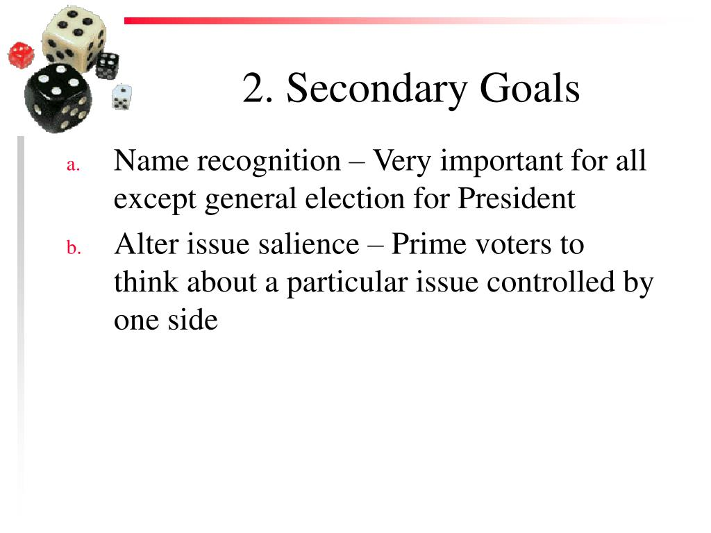 2. Secondary Goals
