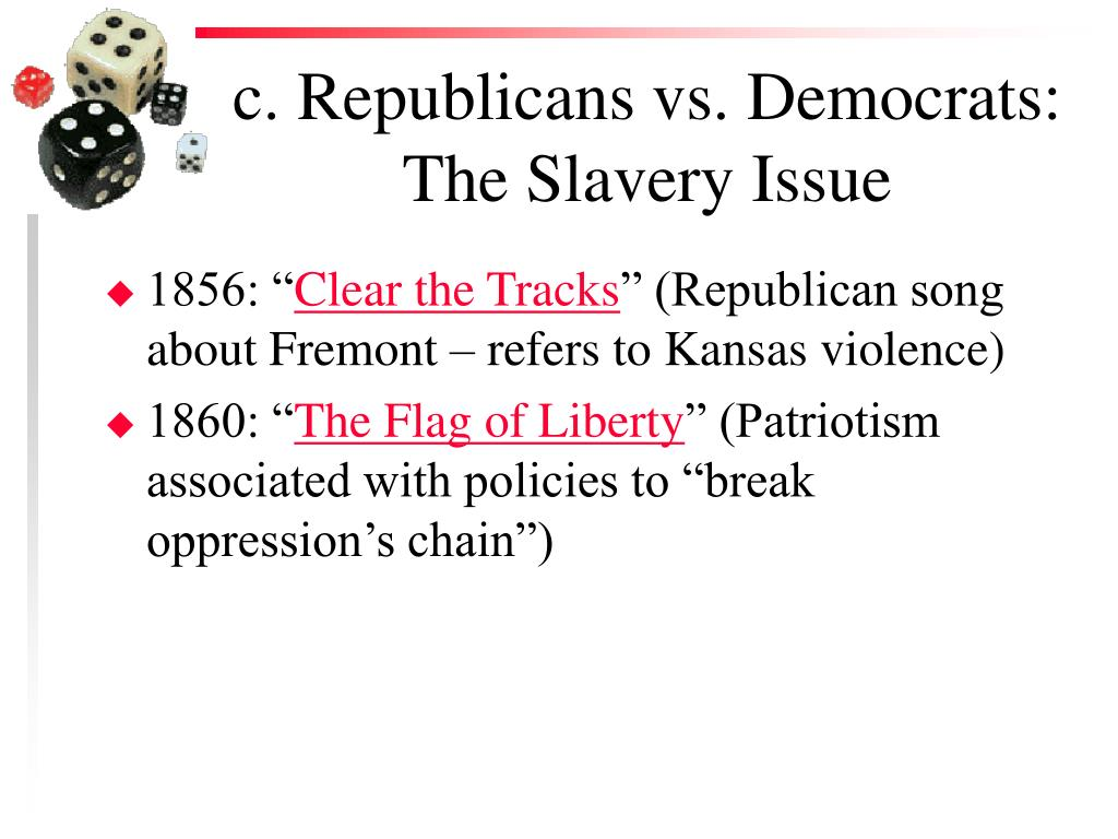 c. Republicans vs. Democrats: The Slavery Issue