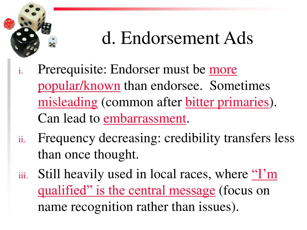 d. Endorsement Ads