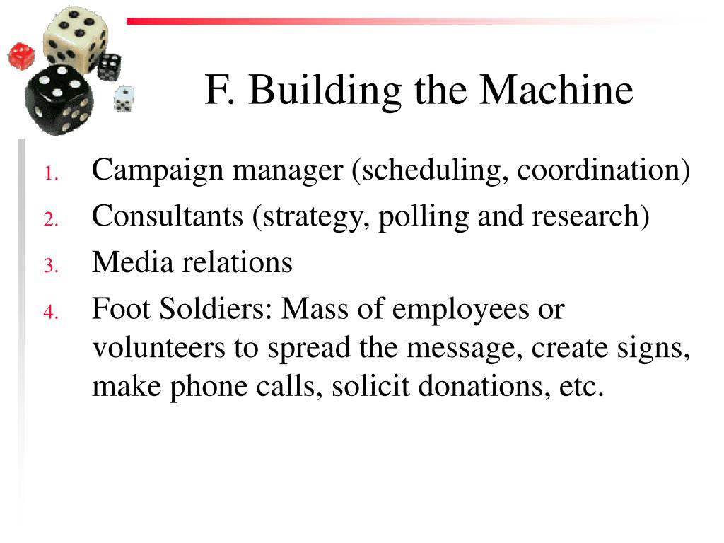 F. Building the Machine